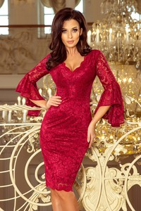 Czerwona sukienka NUMOCO z długim rękawem z dekoltem w kształcie litery v midi