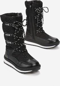 Czarne buty dziecięce zimowe born2be