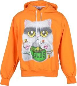Pomarańczowa bluza Gcds w młodzieżowym stylu z nadrukiem