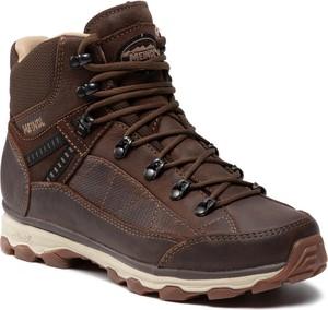 Brązowe buty trekkingowe Meindl sznurowane z płaską podeszwą