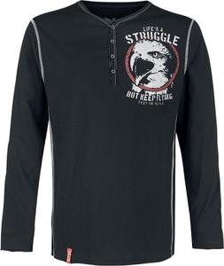 Czarny t-shirt Emp w młodzieżowym stylu z długim rękawem
