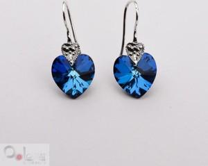 Polcarat Design Kolczyki srebrne z kryształami Swarovski SERCA K 1087 : Kolor - Bermuda Blue