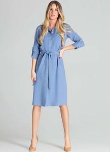 Niebieska sukienka Figl koszulowa