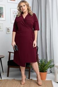 Czerwona sukienka KARKO midi z długim rękawem