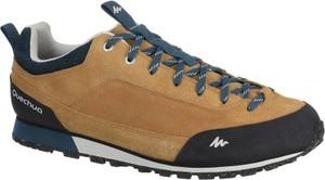 Brązowe buty trekkingowe quechua w sportowym stylu sznurowane