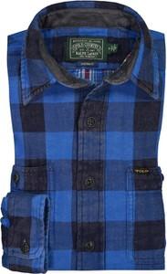 Niebieska koszula POLO RALPH LAUREN z długim rękawem z bawełny z klasycznym kołnierzykiem