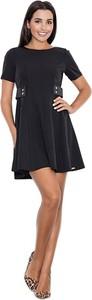 Czarna sukienka Figl z okrągłym dekoltem mini