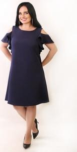 Granatowa sukienka Oscar Fashion trapezowa z krótkim rękawem z okrągłym dekoltem