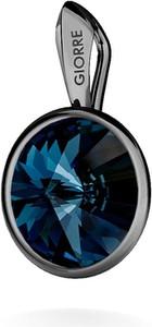 GIORRE SREBRNY WISIOREK SWAROVSKI RIVOLI 925 : Kolor kryształu SWAROVSKI - Montana, Kolor pokrycia srebra - Pokrycie Czarnym Rodem