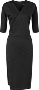 Czarna sukienka Marie Zélie z tkaniny z dekoltem w kształcie litery v wyszczuplająca