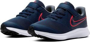 Granatowe buty sportowe dziecięce Nike ze skóry sznurowane dla chłopców
