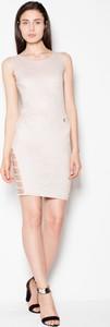Sukienka Venaton z tkaniny z okrągłym dekoltem mini