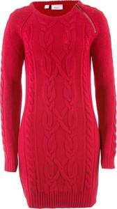 Czerwona sukienka bonprix bpc bonprix collection midi z dzianiny dopasowana