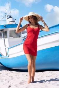 Czerwona sukienka MERRIBEL z dekoltem w kształcie litery v z bawełny