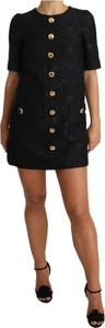 Czarna sukienka Dolce & Gabbana z żakardu mini w stylu casual