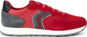 Czerwone buty sportowe Geox ze skóry w sportowym stylu