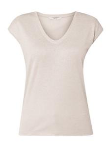 Różowa bluzka Only z dekoltem w kształcie litery v z krótkim rękawem