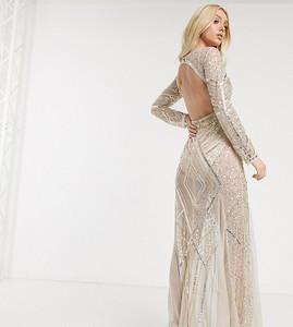 Złota sukienka Starlet z długim rękawem