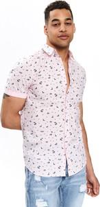 Różowa koszula Top Secret z nadrukiem z krótkim rękawem