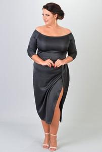Sukienka KARKO dla puszystych midi hiszpanka