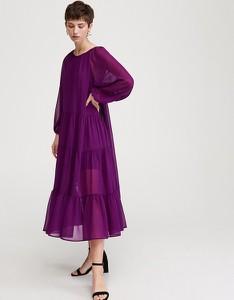 Fioletowa sukienka Reserved rozkloszowana z długim rękawem