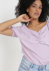 Fioletowa bluzka born2be w stylu casual z długim rękawem