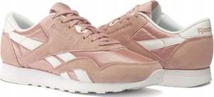 Różowe buty sportowe Reebok nylon z płaską podeszwą