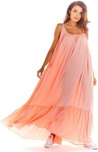 Różowa sukienka Awama w stylu boho na ramiączkach z okrągłym dekoltem