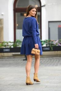 Niebieska sukienka Lemoniade z bawełny z długim rękawem mini
