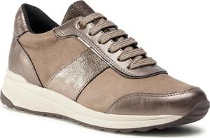 Brązowe buty sportowe Geox z płaską podeszwą sznurowane