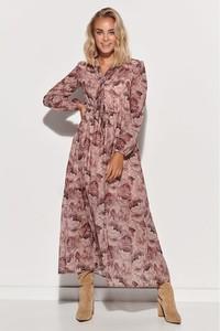 Różowa sukienka Makadamia maxi z długim rękawem