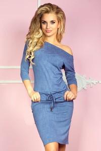 Niebieska sukienka NUMOCO sportowa z asymetrycznym dekoltem mini
