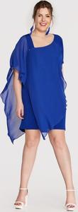 Niebieska sukienka Blue Shadow z długim rękawem
