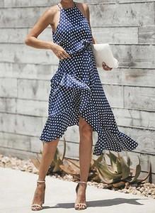 Granatowa sukienka Arilook midi asymetryczna bez rękawów