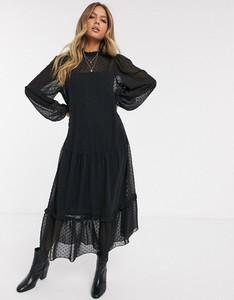 Czarna sukienka Asos z żakardu z długim rękawem