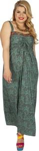 Zielona sukienka Aller Simplement na ramiączkach z dekoltem w kształcie litery v