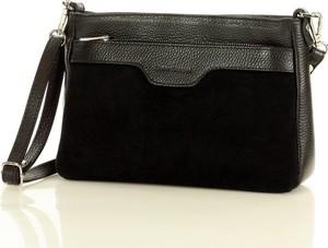 Czarna torebka MAZZINI ze skóry matowa w stylu glamour