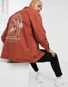 Czerwona koszula Asos z długim rękawem z klasycznym kołnierzykiem z nadrukiem
