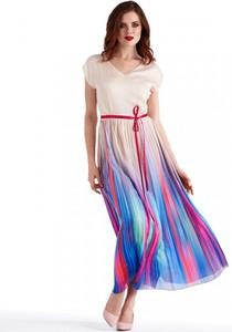Sukienka POTIS & VERSO rozkloszowana z krótkim rękawem