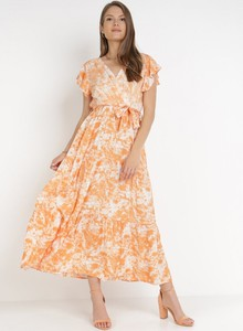 Pomarańczowa sukienka born2be trapezowa maxi z dekoltem w kształcie litery v