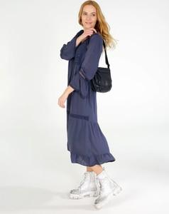 Sukienka Unisono maxi z długim rękawem z dekoltem w kształcie litery v