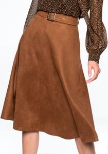 Brązowa spódnica L'AF midi z zamszu