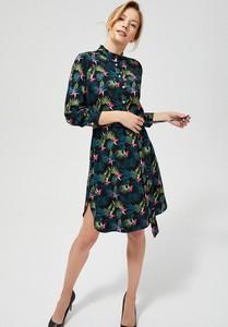 Sukienka Moodo z kołnierzykiem szmizjerka z długim rękawem