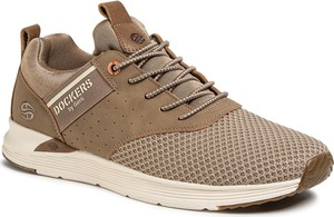 Brązowe buty sportowe Dockers ze skóry ekologicznej sznurowane