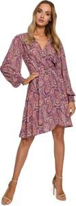 Różowa sukienka MOE mini z długim rękawem z dekoltem w kształcie litery v