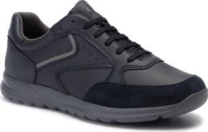 Czarne buty sportowe Geox w sportowym stylu ze skóry ekologicznej