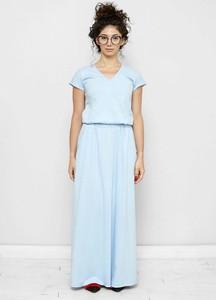 Niebieska sukienka Freeshion z dekoltem w kształcie litery v z bawełny maxi