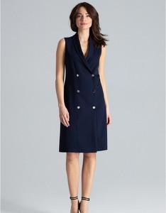 Sukienka LENITIF midi bez rękawów z dekoltem w kształcie litery v