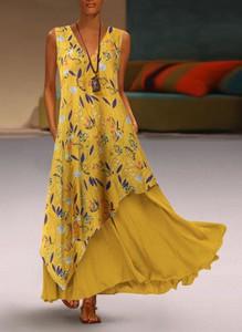 Żółta sukienka Sandbella z dekoltem w kształcie litery v asymetryczna