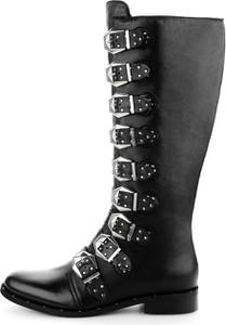 Czarne kozaki Prima Moda w stylu casual z nadrukiem ze skóry